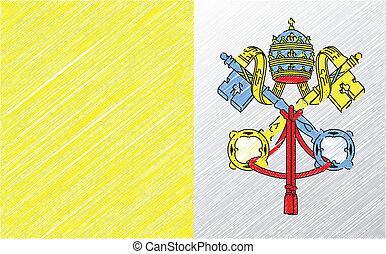 vector, bandera, ilustración, vaticano