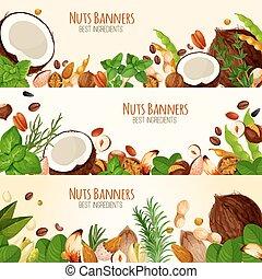vector, banderas, fruta, nueces, semillas