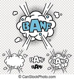 vector, banf, cómico, ilustración, efecto