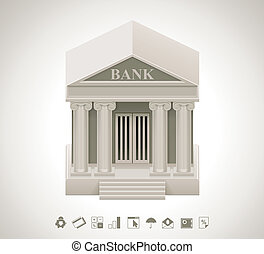 Detailed bank building icon with related pictograms
