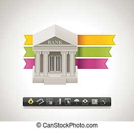 vector, bank, pictogram
