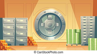 Vector bank vault background with money, gold