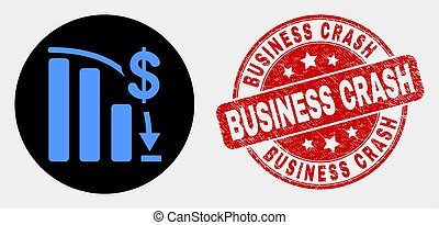 Vector Bankruptcy Bar Chart Icon and Grunge Business Crash Stamp Seal