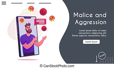 Vector banner aggressive man comments online chat - Vector ...