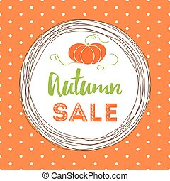 Vector banner autumn sale into circle frame decorated fall pumpkin