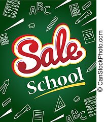 Vector banner back to school sale. Flyer and banner with...