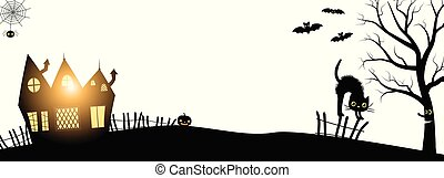 Vector banner for Halloween evnets in black and white minimal style with silhouettes of a haunted house, tree, cat, and bats