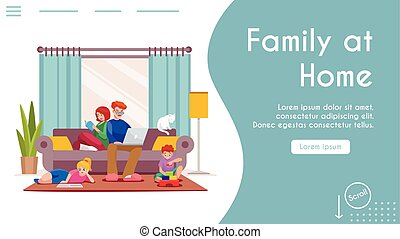 Vector banner illustration of family stay at home. Dad sitting on couch, working on laptop. Mom reading book. Son plays with toy cubes. Daughter reads, does homework. Home interior living room