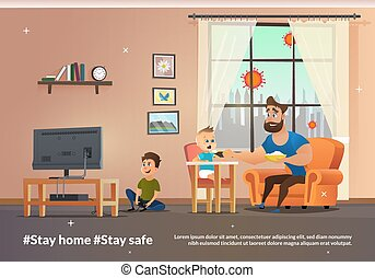 Vector Banner Illustration Stay Home and Stay Safe
