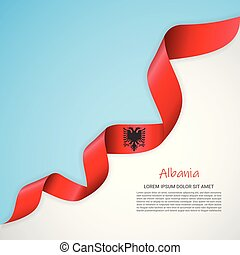 Vector banner in white and blue colors and waving ribbon with flag of Albania. Template for poster design, brochures, printed materials, logos, independence day.
