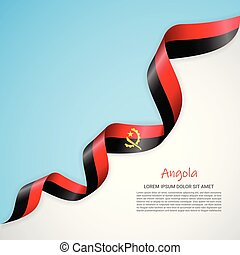 Vector banner in white and blue colors and waving ribbon with flag of Angola. Template for poster design, brochures, printed materials, logos, independence day.