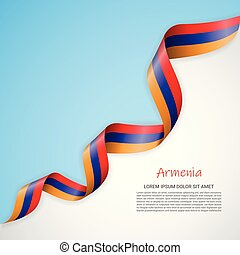 Vector banner in white and blue colors and waving ribbon with flag of Armenia. Template for poster design, brochures, printed materials, logos, independence day.