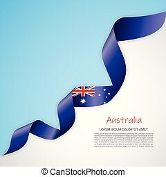 Vector banner in white and blue colors and waving ribbon with flag of Australia. Template for poster design, brochures, printed materials, logos, independence day.