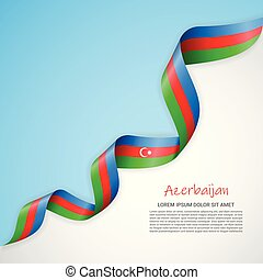 Vector banner in white and blue colors and waving ribbon with flag of Azerbaijan. Template for poster design, brochures, printed materials, logos, independence day.