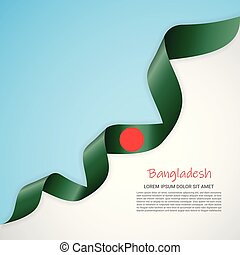 Vector banner in white and blue colors and waving ribbon with flag of Bangladesh. Template for poster design, brochures, printed materials, logos, independence day.