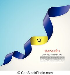 Vector banner in white and blue colors and waving ribbon with flag of Barbados. Template for poster design, brochures, printed materials, logos, independence day.
