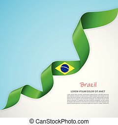 Vector banner in white and blue colors and waving ribbon with flag of Brazil. Template for poster design, brochures, printed materials, logos, independence day.