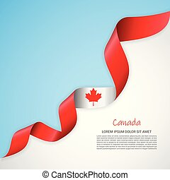 Vector banner in white and blue colors and waving ribbon with flag of Canada. Template for poster design, brochures, printed materials, logos, independence day.