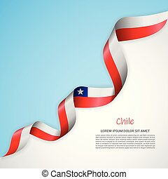 Vector banner in white and blue colors and waving ribbon with flag of Chile. Template for poster design, brochures, printed materials, logos, independence day.