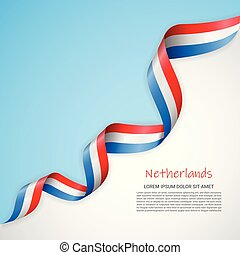 Vector banner in white and blue colors and waving ribbon with flag of Netherlands. Template for poster design, brochures, printed materials, logos, independence day.