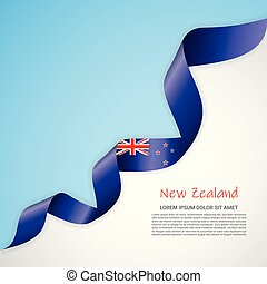 Vector banner in white and blue colors and waving ribbon with flag of Newzealand. Template for poster design, brochures, printed materials, logos, independence day.