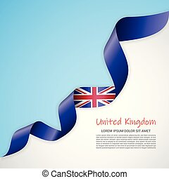 Vector banner in white and blue colors and waving ribbon with flag of United Kingdom. Template for poster design, brochures, printed materials, logos, independence day.