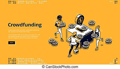 Crowdfunding banner. Concept of financial support business idea and startups, fundraising and sponsorship. Vector landing page with isometric people donate money to box