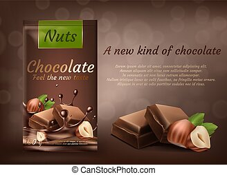 Vector banner of milk chocolate with hazelnuts