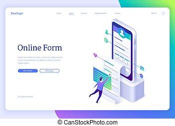 Vector banner of online form application