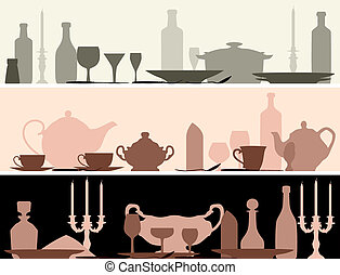 Horizontal vector banner: silhouettes set table with serving utensils.