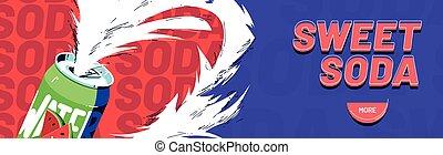 Vector banner of sweet soda, fruit drink with foam