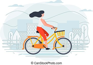 Vector banner template with girl on a bike.