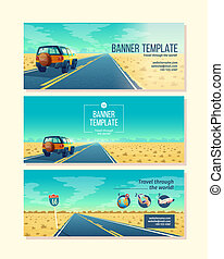 Vector banner template with tourist concept, traveling -...