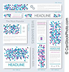 Modern vector banner templates collection triangle mosaic design