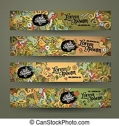 banner templates set with doodles camping theme