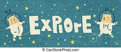 explore - vector banner with cute bears and explore text
