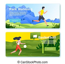 Vector banner with jogging man and basketball girl