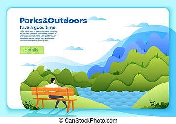 Vector banner with man on a bench on the river