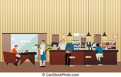Vector banner with restaurant interior. People having lunch in cafe and bar