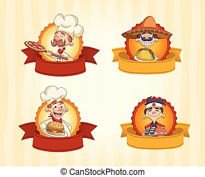 cartoon chefs cooking and holding tray with food.