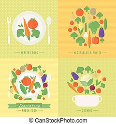 Vector banners, card vegetables