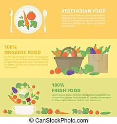 Vector banners, card with fresh fruits and vegetables
