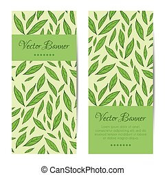 Vector banners, cards set. Green leaves pattern