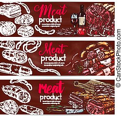 Vector banners for butchery shop meat products