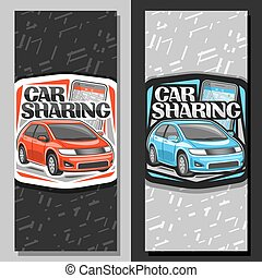 Vector banners for Car Sharing, signage with red and blue ...