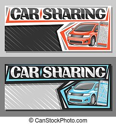 Vector banners for Car Sharing with copy space, signage with...