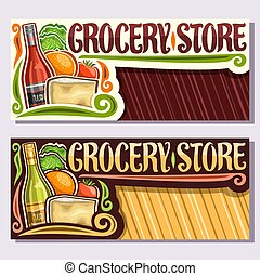 Vector banners for Grocery Store with copy space, leaflets...