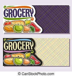 Vector banners for Grocery Store with copy space, organic...