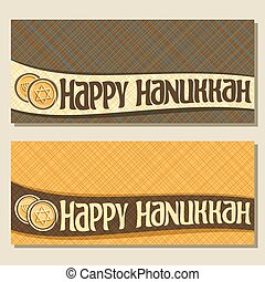 Vector banners for Hanukkah holiday with copy space,...