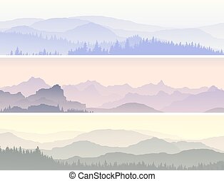 Vector banners of misty forest hills.